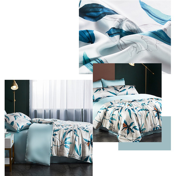 19 Momme Moon Flower Printed Silk Duvet Cover Set | 4pcs、Real Silk Life
