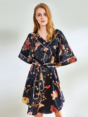 22 Momme High Quality Oversize Printed Silk Nightgown、Real Silk Life