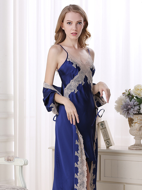 19 Momme Women's Lacey Silk Robe Set、Real Silk Life