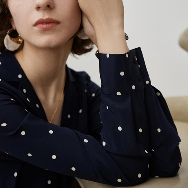 Women Lovely Polka Dot Silk Shirt、Real Silk Life