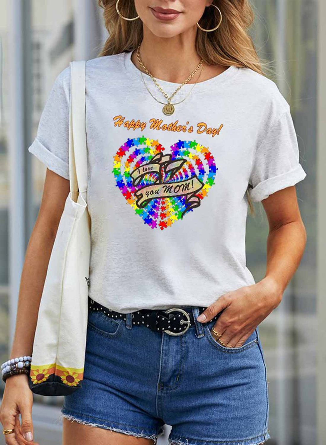 White Women's T-shirts Letter Heart-shaped Round Neck Short Sleeve Summer Casual Daily T-shirts LC2525147-1