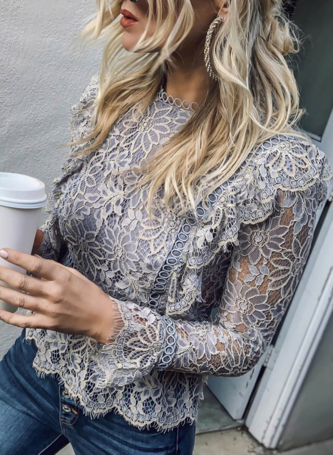White Crew Neck Long Sleeve Lace Blouses TMP426499-1