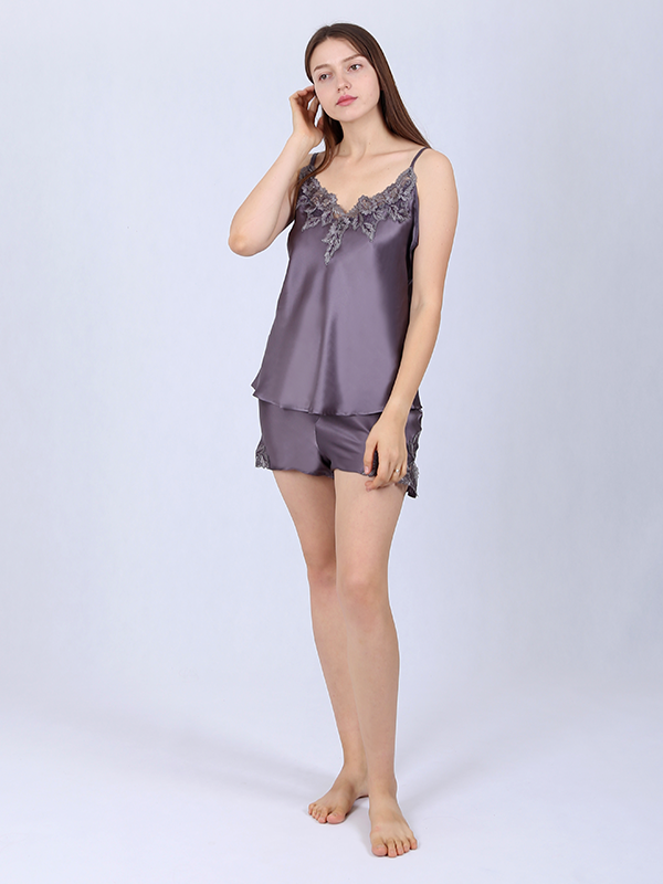 19 Momme Women's Lacey Silk Camisole Set、Real Silk Life