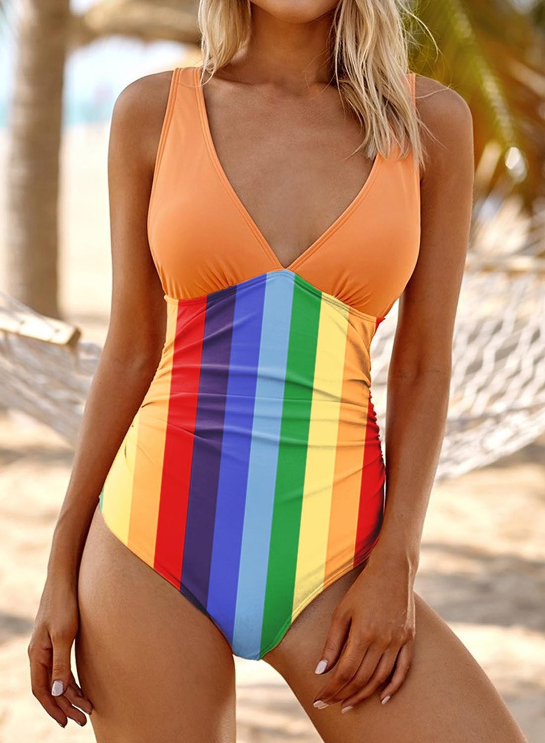 Multicolor Women's Swimsuits Rainbow High Cut Back Hollowed One-piece Swimsuit LC442273-22