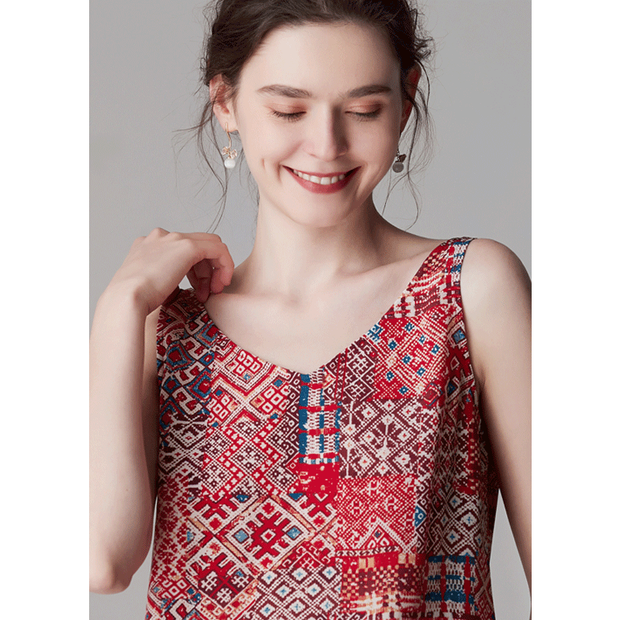 Red Print V-neck Silk Camisoles、Real Silk Life