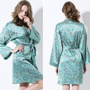 19 Momme Blue Printed Silk Nightgown Robe Set、Real Silk Life