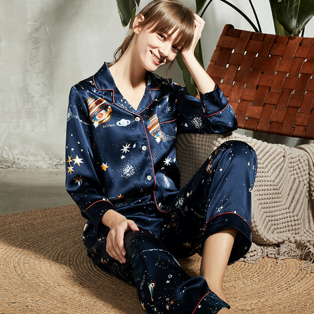 Luxury Height Quality Milky Way Long Sleeve Silk Pajamas Set For Women | Two Colors Selected、Real Silk Life