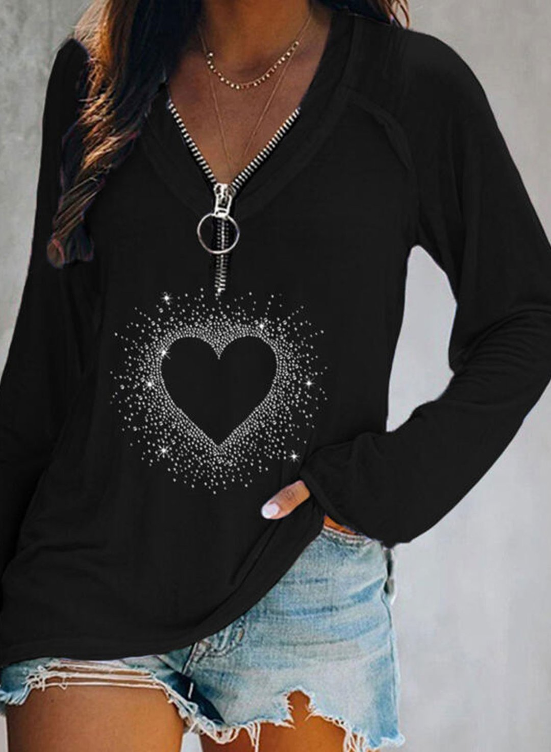 Black Women's Pullovers Holiday Heart-shaped Long Sleeve V Neck Daily Rhinestones Tunic Pullover LC2515368-2