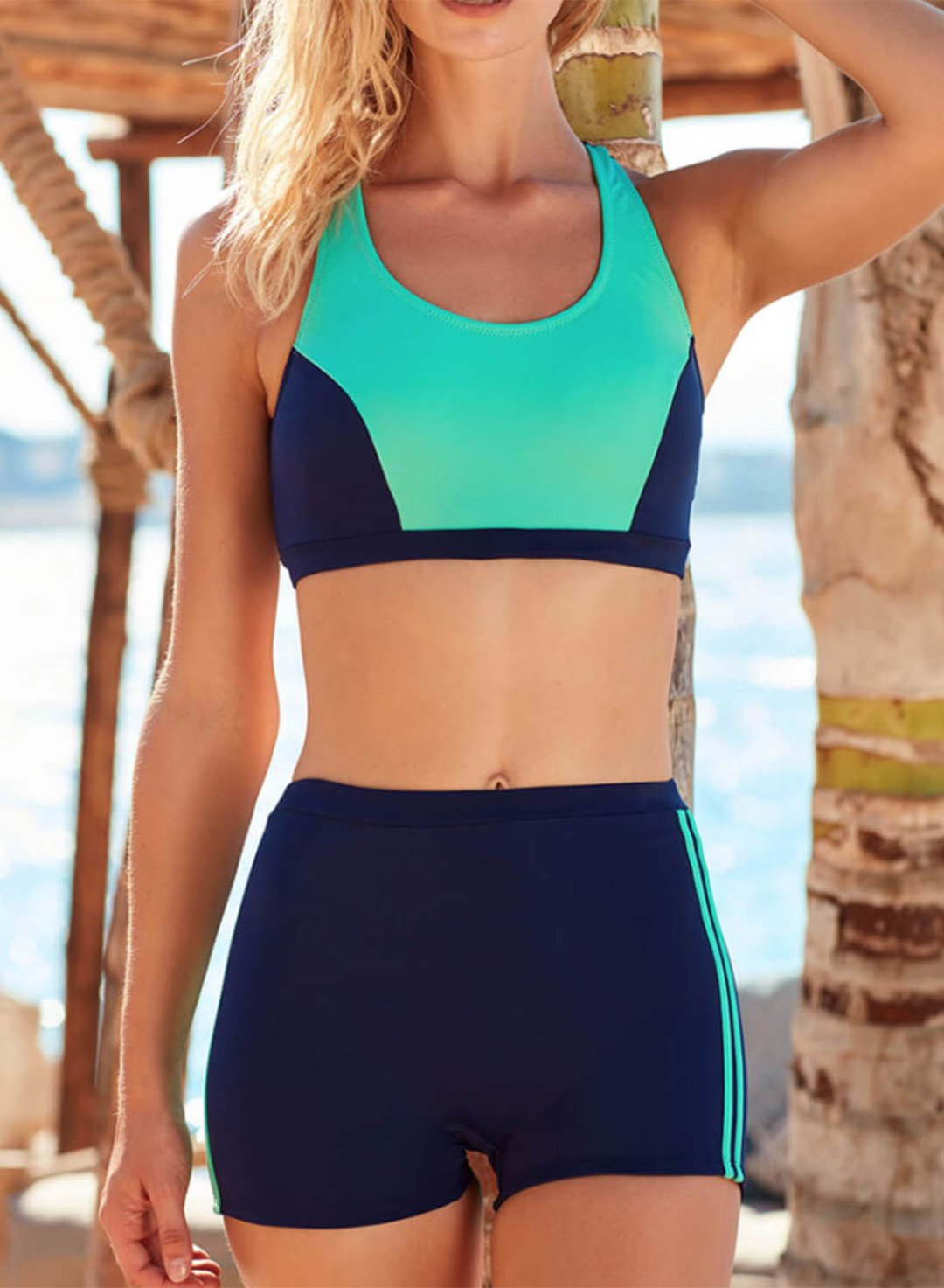 Green Women's Bikinis Color Block Mid Waist Sleeveless U Neck Padded Unadjustable Wire-free Beach Casual Bikini Suit LC431017-9