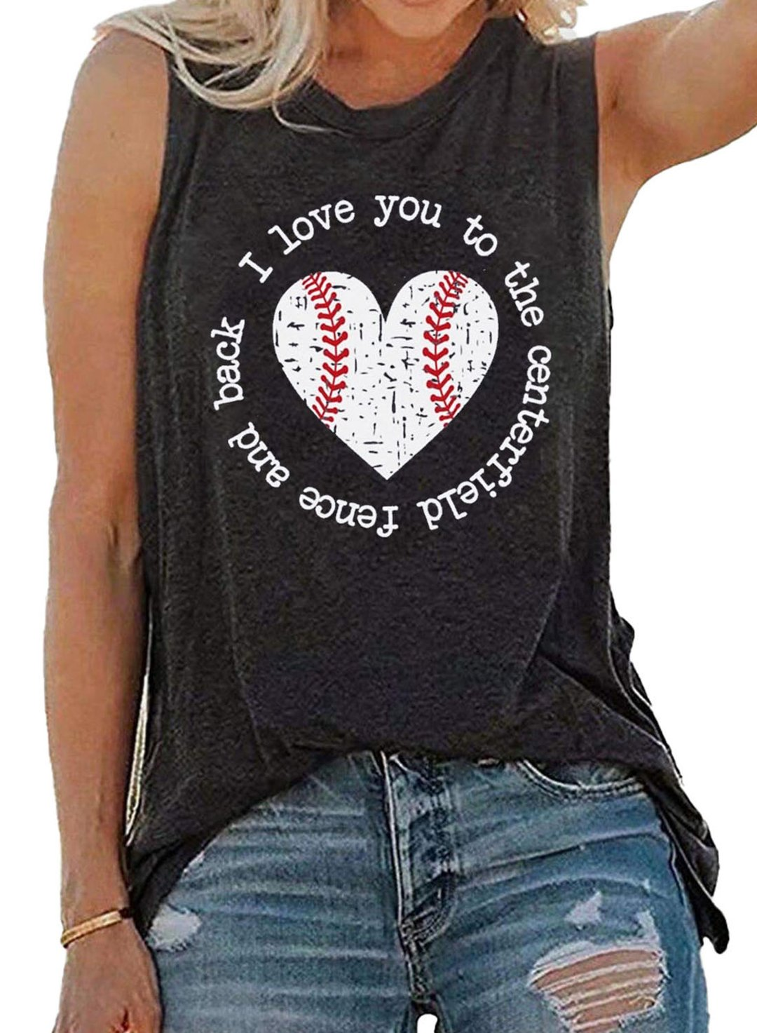 Gray Women's Tank Tops Letter Top LC2561768-11