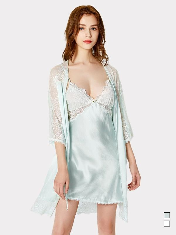 19 Momme Lace Sexy Silk Nightgown Robe Set | Two Colors Selected | Two Pcs、Real Silk Life