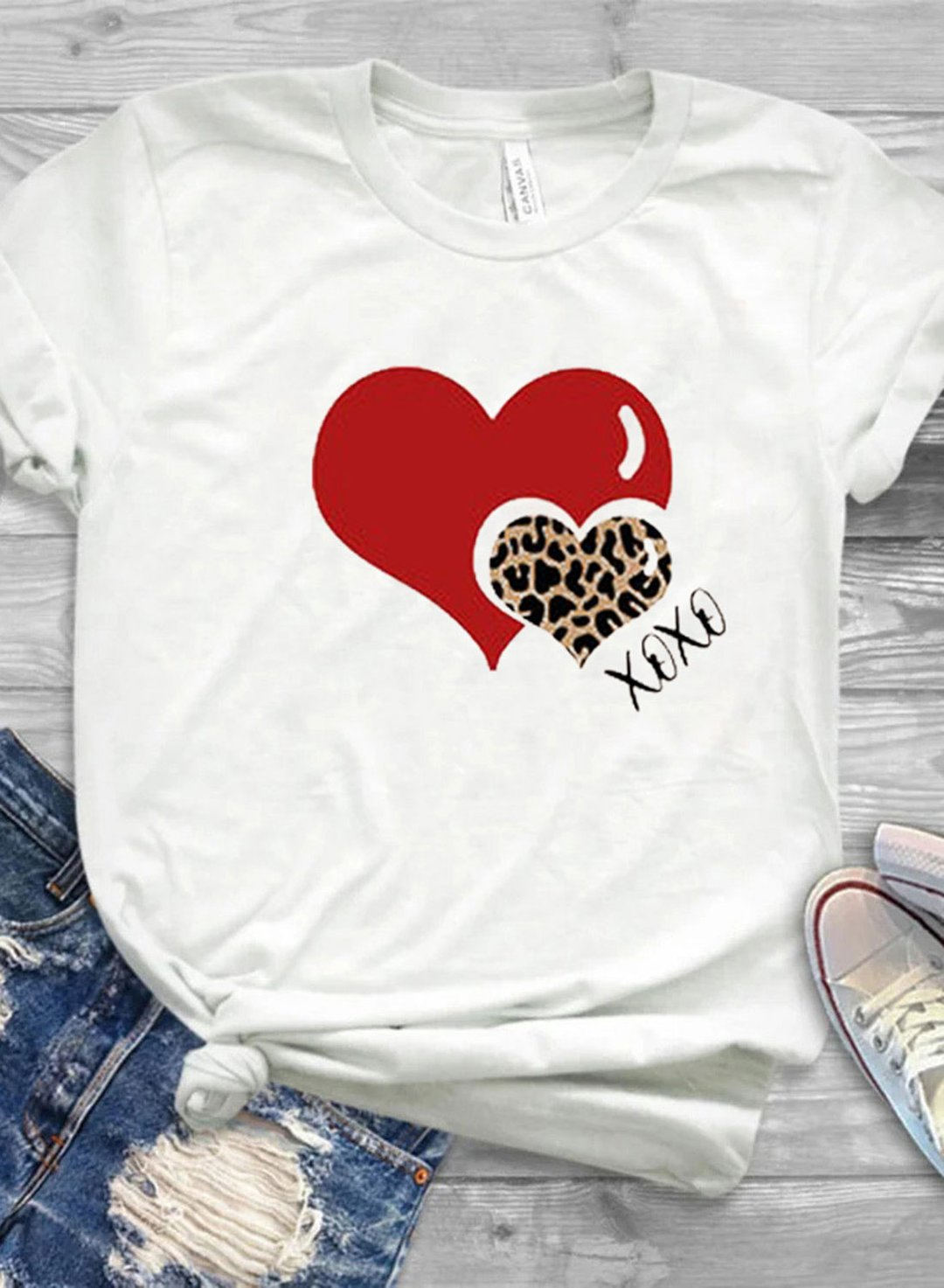 White Women's T-shirts Leopard Letter Heart-shaped Print Short Sleeve Round Neck Daily T-shirt LC2523705-1
