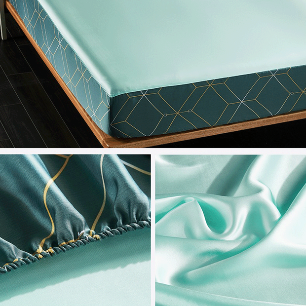 19 Momme Cyan Single Side Mulberry Silk Fitted Sheet& Pillowcase Set、Real Silk Life