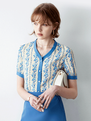 Garden Flower Print Silk Blouse、Real Silk Life