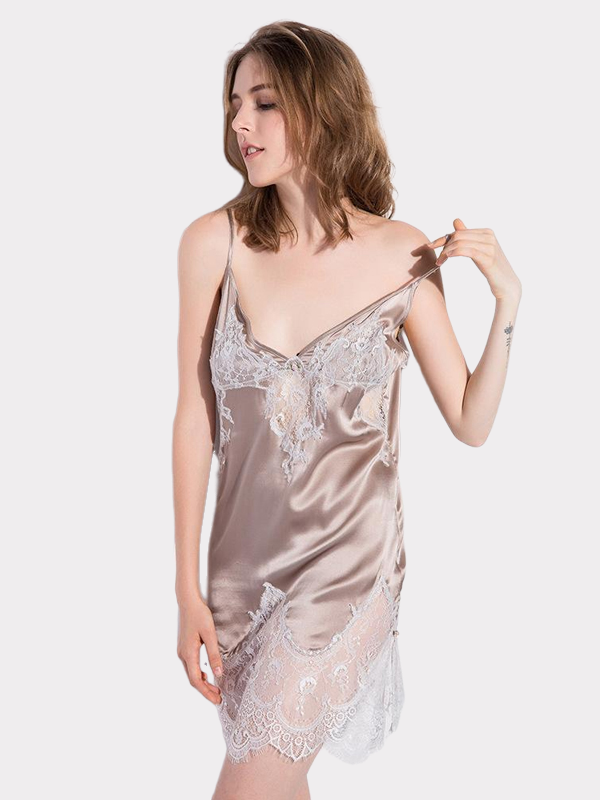 19 Momme Champagne Lace Silk Nightgown、Real Silk Life