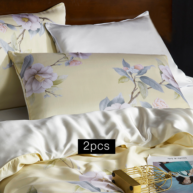 19 Momme Gardenia Cream Pattern Printed Single Side Mulberry Silk Pillowcase | Pillowcases 2pcs、Real Silk Life