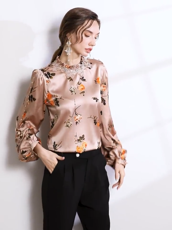 Diamond Ornament Floral Silk Blouse、Real Silk Life