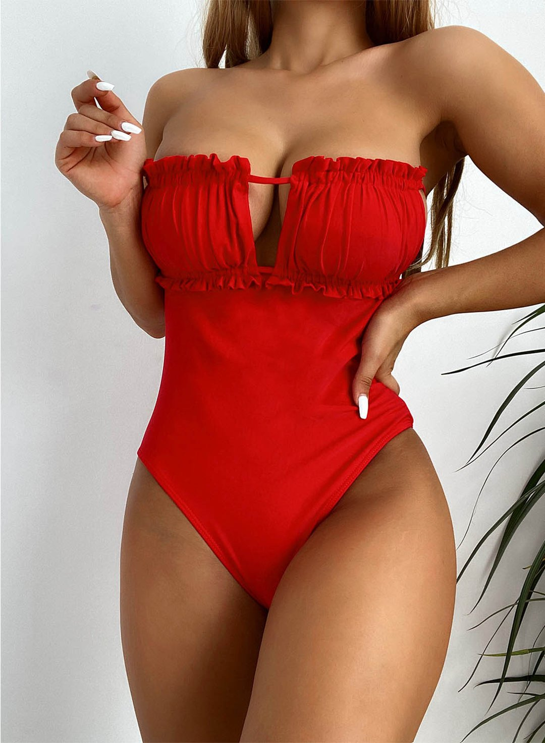 Red Women's One-Piece Swimsuits Solid Sleeveless Asymmetrical Sexy Ruffle Cold Shoulder One-Piece Swimsuit LC44490-3
