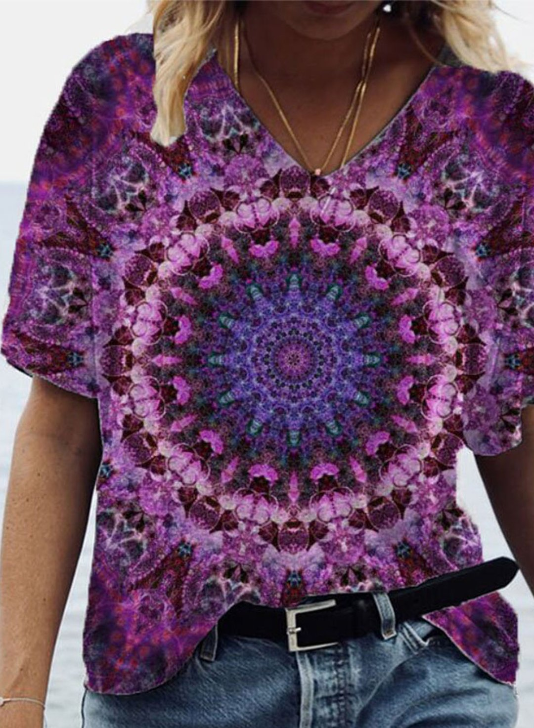 Purple Women's T-shirts Mandala Print Tiedye T-shirt LC2526823-8