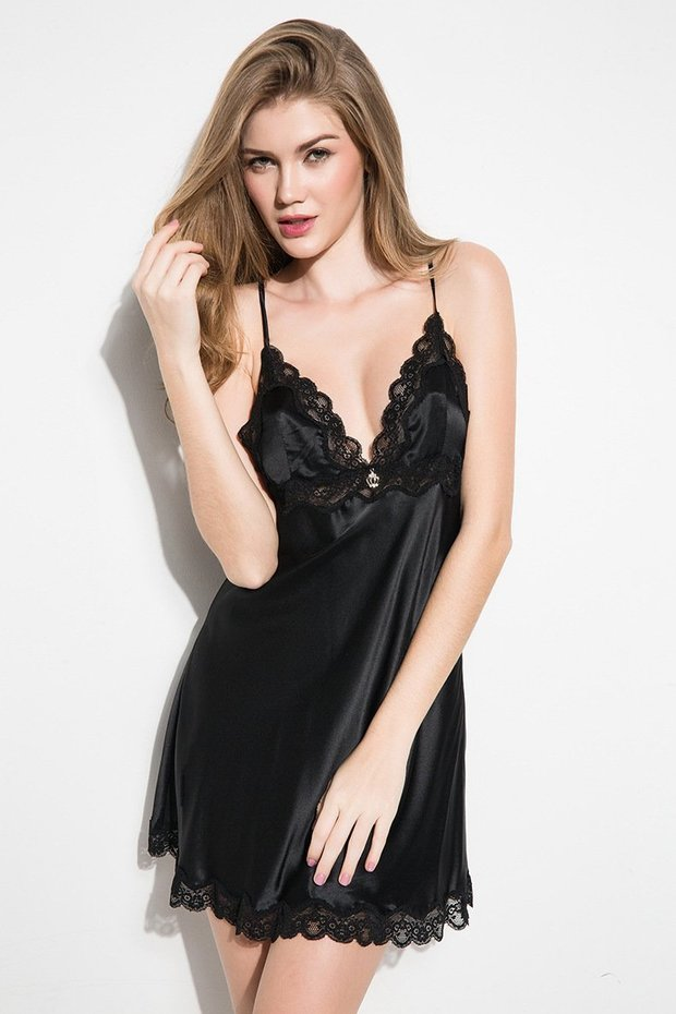 19 Momme V Neck Black Silk Nightgown、Real Silk Life