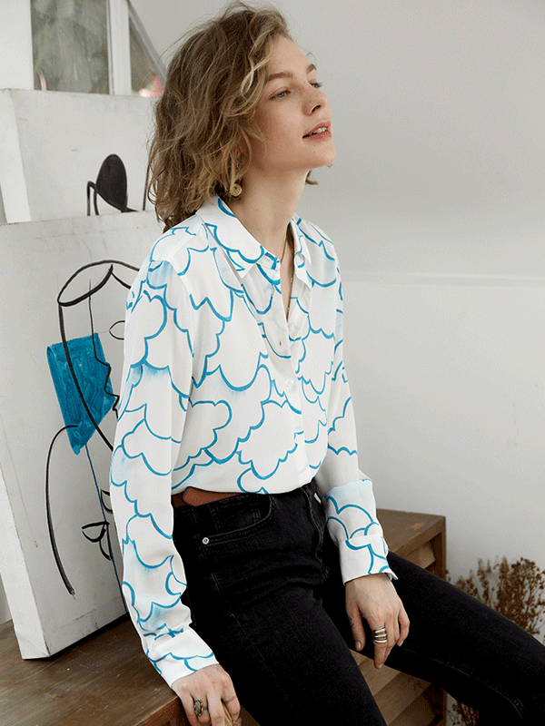 French Design Artful cloud Printed Silk Shirt、Real Silk Life