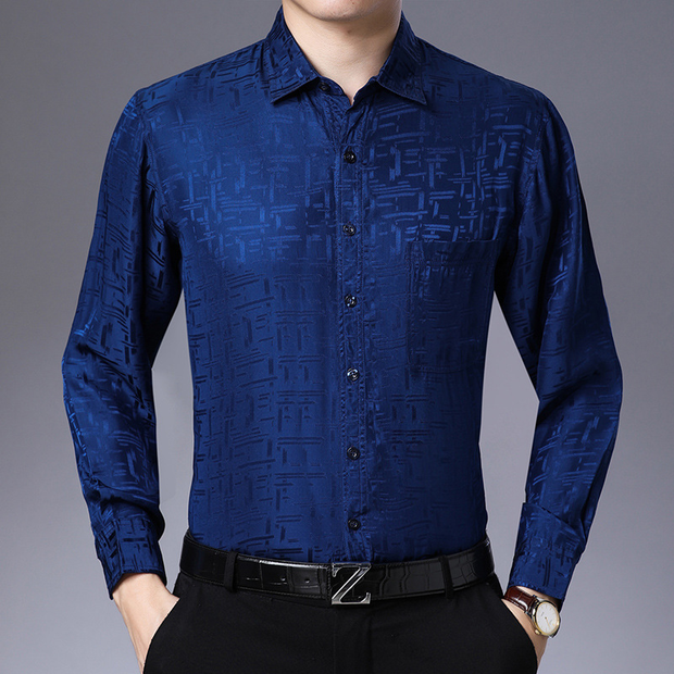 Printed Long Sleeves Silk Shirt For Mens| Multi-Colors Selected、Real Silk Life