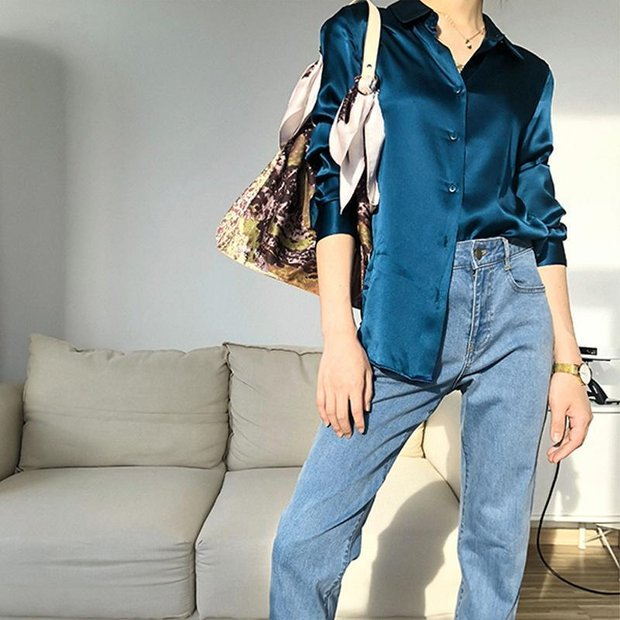 Women Classic High Quality Silk Shirt、Real Silk Life