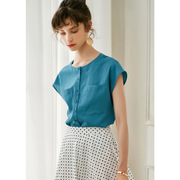 Blue Round Neck Short Sleeves Silk Blouse、Real Silk Life