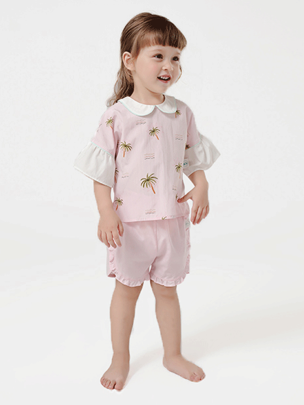 55% Mulberry Silk Short Sleeves Lovely Printed Silk Top For Kids、REAL SILK LIFE