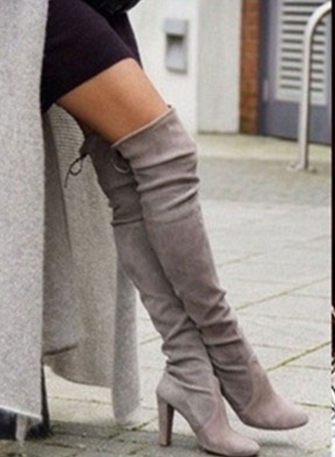 Gray Suede High Heel Over The Knee Thigh High Lace Up Boots LC12227-11