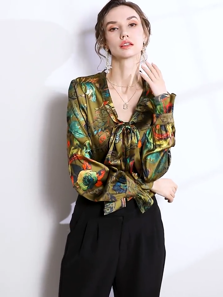 Vintage Bowtie Flowers Silk Blouse、Real Silk Life