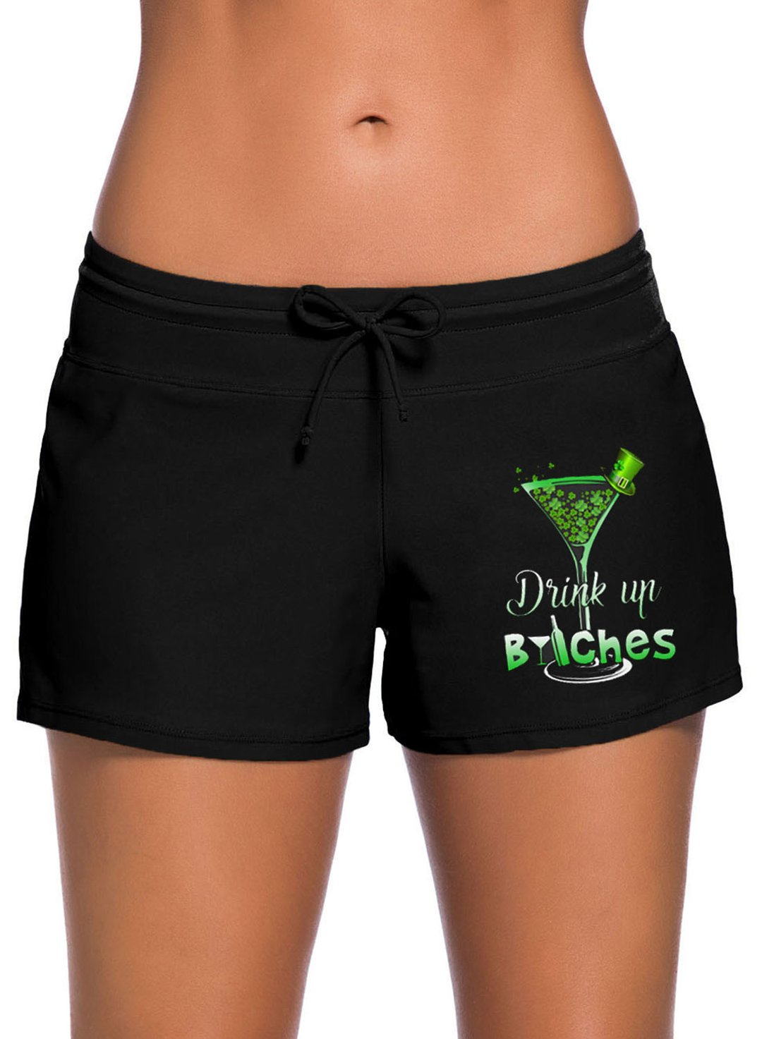 Black Women's Swim Shorts Mid Waist Letter Festival Knot Drawstring Swim Shorts LC472065-2