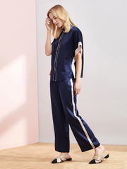 19 Momme Contrast Color Lifestyle Long Silk Pajamas Set、Real Silk Life