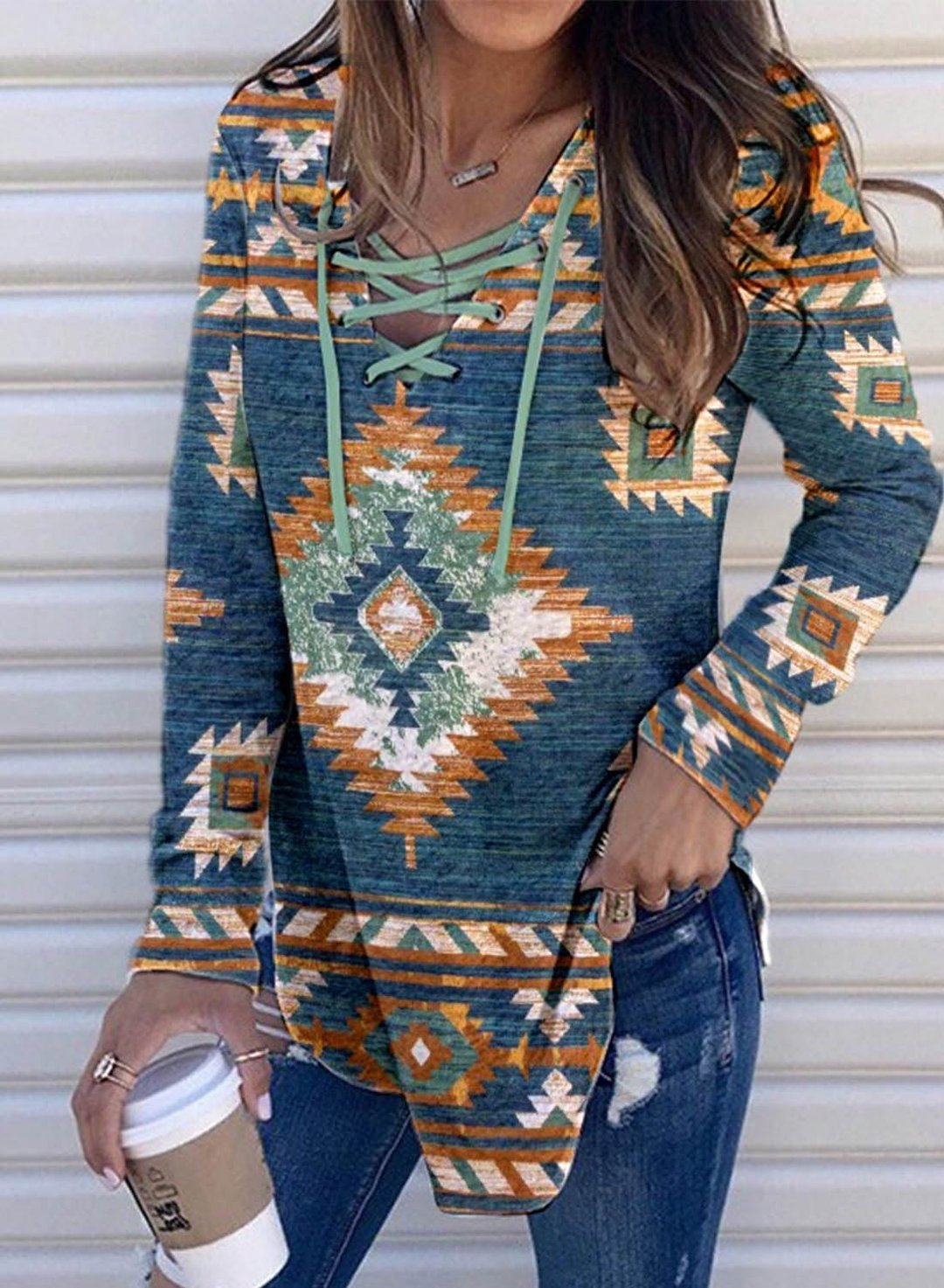 Blue Women's Hoodies Drawstring Tribal Multicolor Long Sleeve Daily Casual Hoodies LC2537643-5