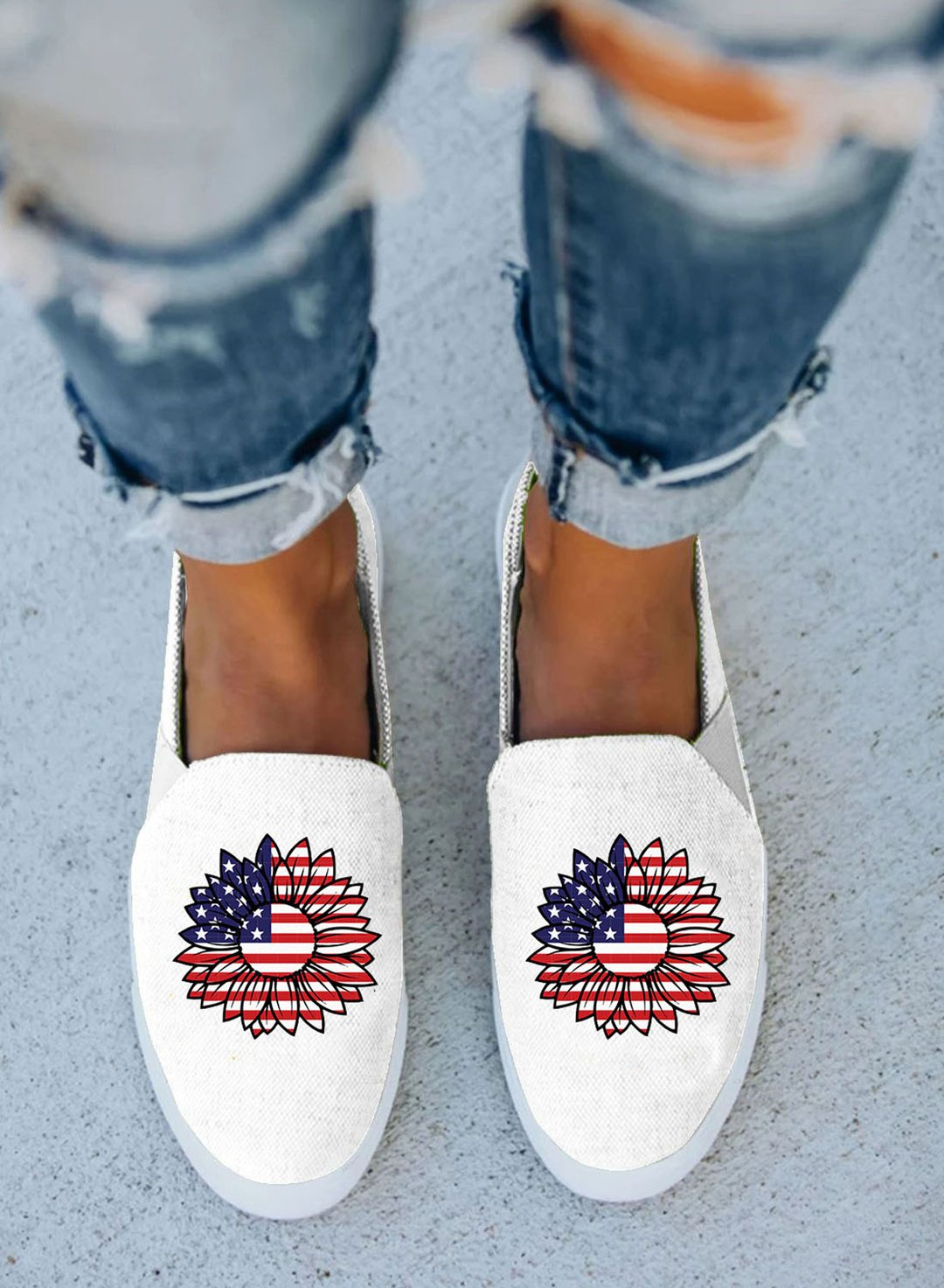 White Women's Canvas Shoes Cute Flag Sunflower Print Canvas Shoes LC121065-1