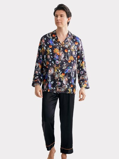 22 Momme Flower Printed Silk Pajamas For Men、Real Silk Life