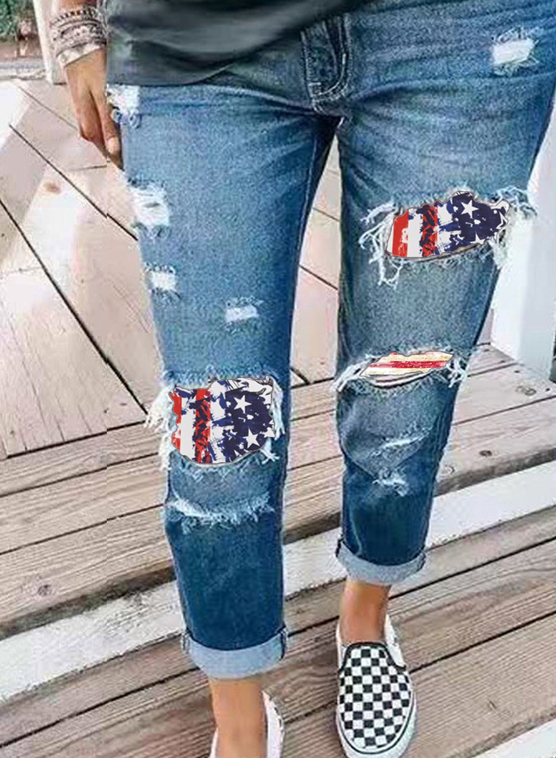 Blue Women's Ripped Jeans Straight Striped Flag Star Cut-out Mid Waist Ankle-length Casual Daily Ripped Jeans LC781726-5