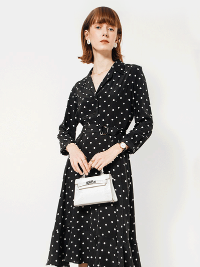 Contrast Collar V-neck Polka Dot Black Silk Dress、Real Silk Life