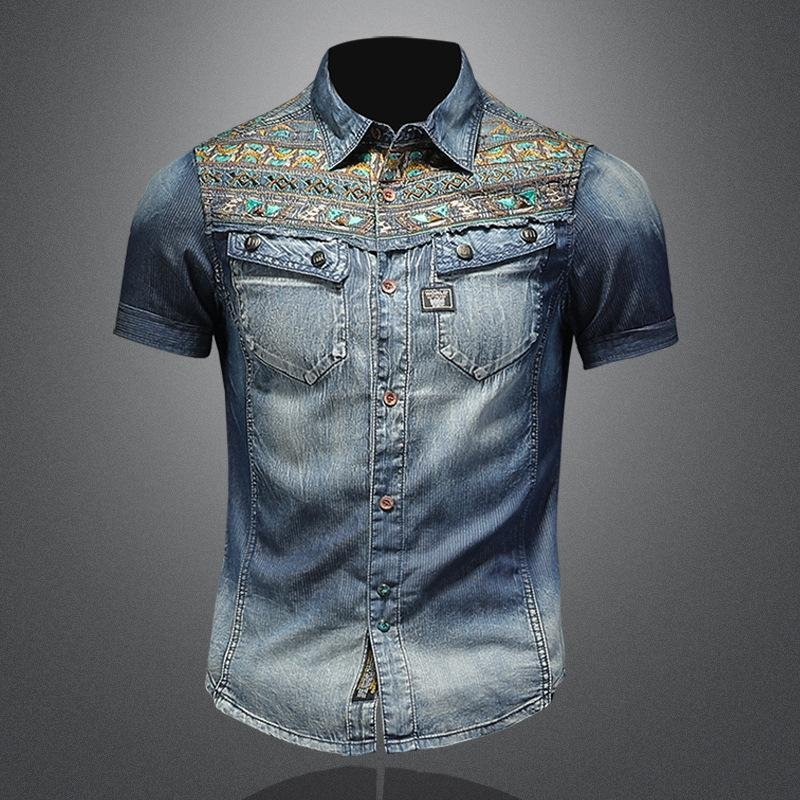 Atonlove™-Mens Denim Shirts Casual Short Sleeves Camisas Vintage Embroidery Floral Shirt Luxury Stylish Slim Fit west cowboy Shirtsmysite