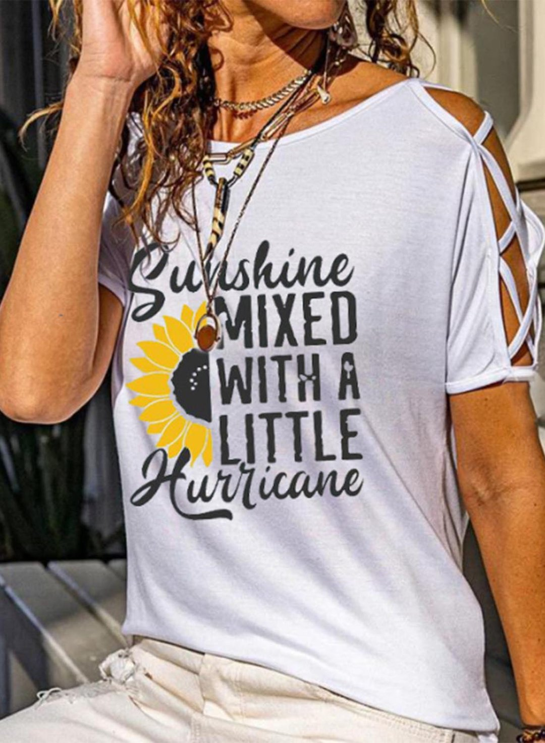 White Women's T-shirts Letter Sunflower Print Cut-out Shoulder T-shirt LC2526262-1