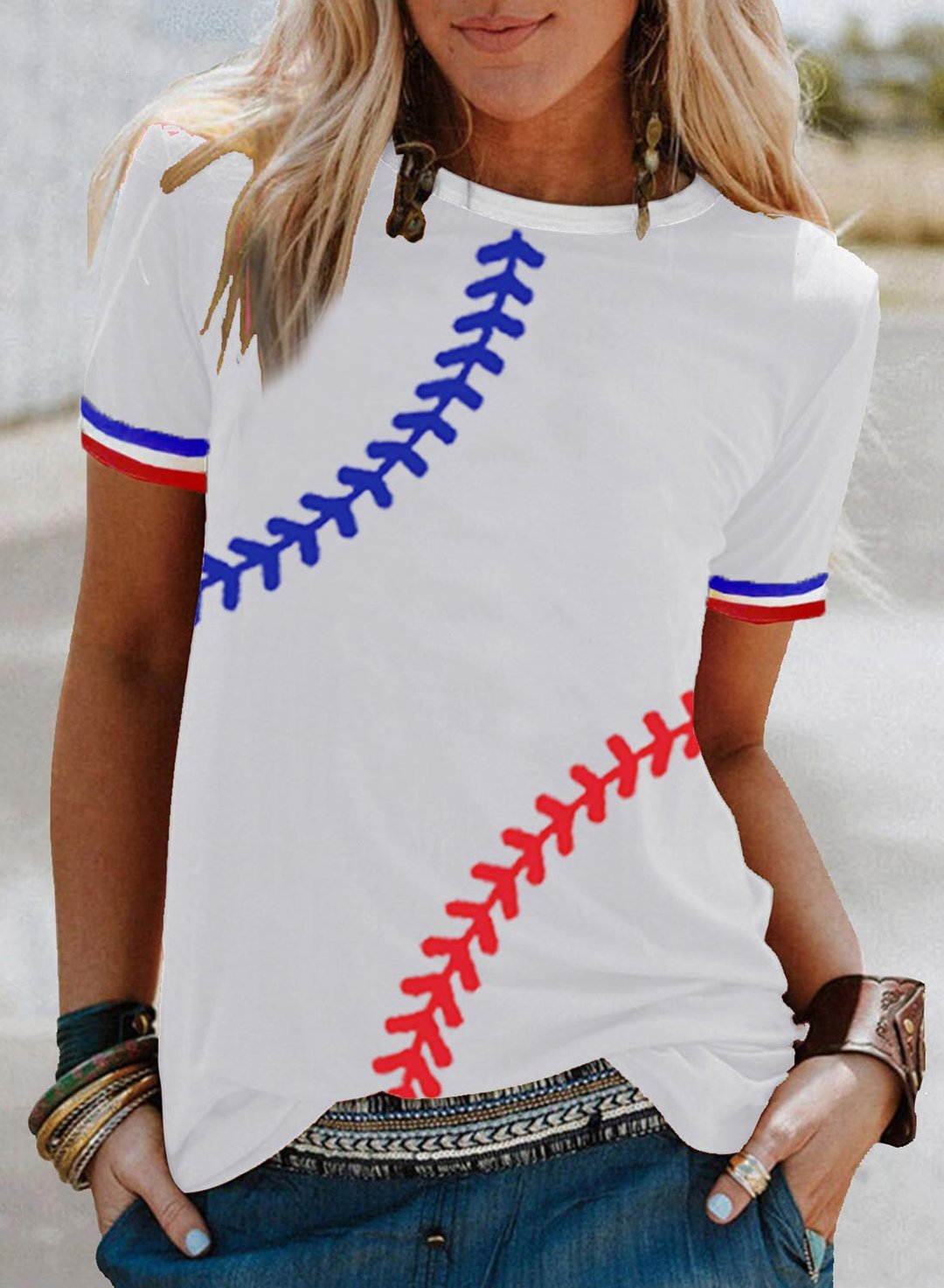 White Women's T-shirts Color Block Baseball T-shirts LC2526634-1