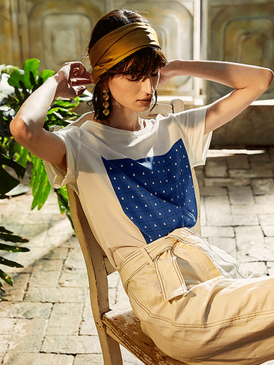French Design Round Neck Silk Tee、Real Silk Life