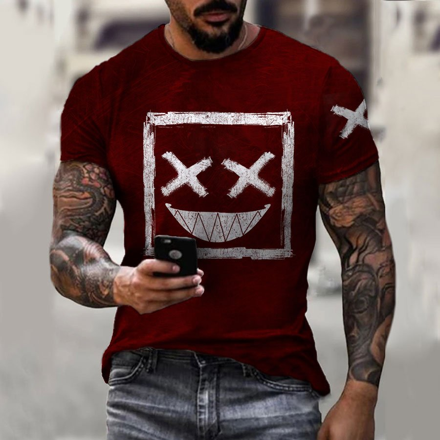 Casual Smile Print Short Sleeve T shirt