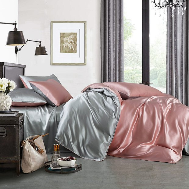 19 Momme High Quality Double Color Silk Bedding Set 4PC 丨 Pink & Gray、Real Silk Life