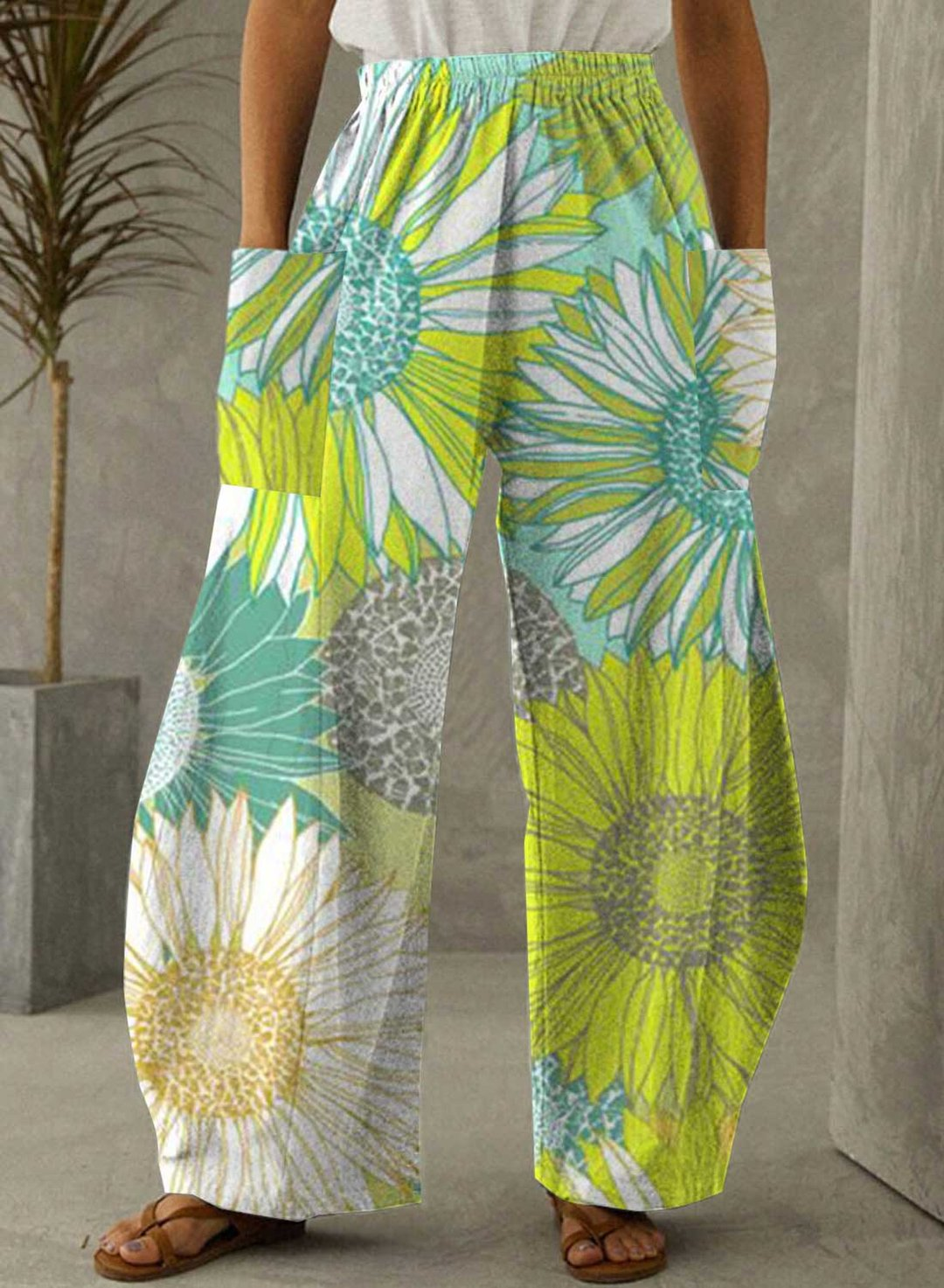 Multicolor Women's Palazzo Pants Mid Waist Sunflower Print Pocket Palazzo Pants LC772029-22