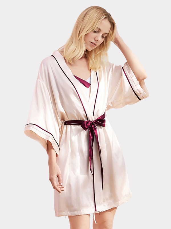 19 Momme Comfy Silk Nightgown Robe Set、Real Silk Life