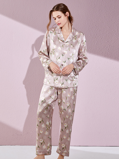 Luxurious Bloom Silk Long Pajamas Set、Real Silk Life