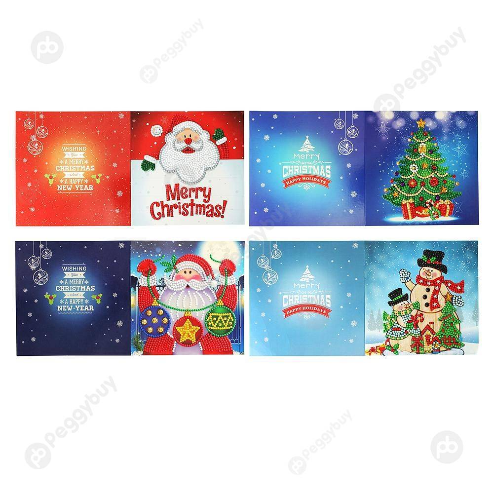 Peggybuy coupon: 4pc Christmas-Creative Diamond Greeting Card