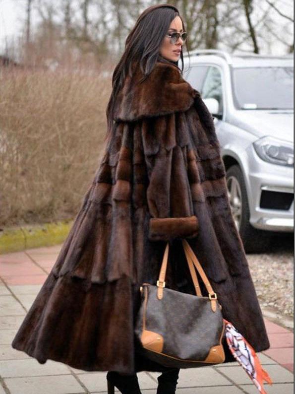 Millie Mahogany Mink Fur Coat