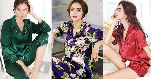 silk pajama set womens